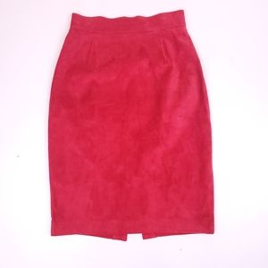 Vintage Danier red suede leather pencil skirt
